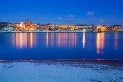 Grudziadz冬天风景在维斯瓦河的 库存照片