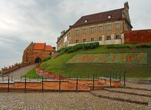 Grudziadz. Old town in Grudziadz - sign on the grass Royalty Free Stock Image