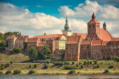 Grudziadz hill. Aline of granaries. View of Grudziadz town,on the Vistula river. Poland Stock Photography