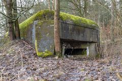 Grudziadz, kujawskopomorskie / Poland - March, 15, 2019: Polish fortifications from the World War II on the Osa River. Old bunkers royalty free stock image