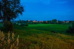 Grudziadz at night with Wisla river. Poland Royalty Free Stock Image