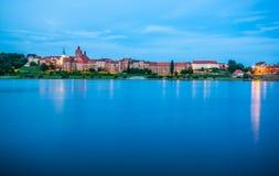 Grudziadz at night with Wisla river. Poland Stock Photo
