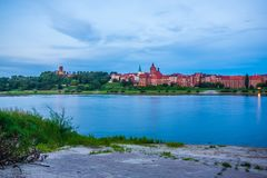 Grudziadz at night with Wisla river. Poland Royalty Free Stock Photos