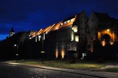 Grudziadz på natten Fotografering för Bildbyråer