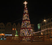 GRUDZIADZ, POLAND - NOVEMBER 27, 2015: Christmas tree and decorations in old town of Grudziadz, Poland. Grudziadz is a historic city located at Vistula river Stock Images
