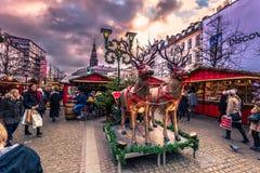 Grudzień 05, 2016: Bożenarodzeniowy rynek w środkowym Kopenhaga, d Zdjęcie Stock