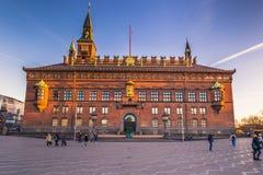 Grudzień 02, 2016: Czołowy widok urząd miasta Kopenhaga, Zdjęcie Stock