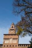 Grudzień 2015 Mediolan Włochy, Sforzesco - kasztel - Zdjęcie Stock