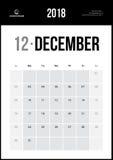 Grudzień 2018 Minimalistyczny Ścienny kalendarz Zdjęcie Stock