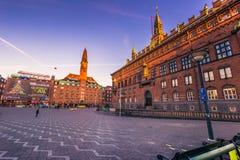 Grudzień 02, 2016: Panorama urzędu miasta kwadrat w Kopenhaga, d Zdjęcie Royalty Free