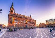 Grudzień 02, 2016: Urzędu Miasta kwadrat w Kopenhaga, Dani Obrazy Royalty Free