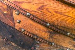 Grudzień 04, 2016: Drewniana tekstura Viking statek w Viking Obrazy Royalty Free