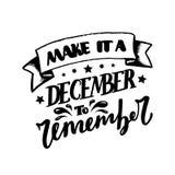 Grudzień Inspiracyjna wycena Typografia dla kalendarza, plakat, zaproszenie, kartka z pozdrowieniami lub t koszula, Wektorowy lit Obraz Royalty Free