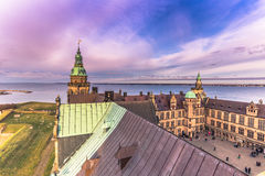 Grudzień 03, 2016: Mroczny niebo w Kronborg kasztelu, Dani Zdjęcie Stock
