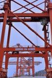 Grue à tour sur le dock, Xiamen, Fujian, Chine Images libres de droits