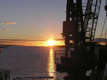 Grue au lever de soleil 2 Images libres de droits