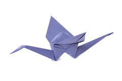 Grue d'Origami d'isolement au-dessus du blanc Photo libre de droits