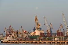 Grue dans le port au lever de soleil Photos libres de droits