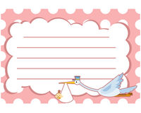 Grue de carte de voeux de fête de naissance avec la ligne rose Photographie stock libre de droits