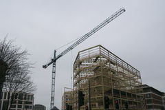 Grue de construction, Wellington Street, centre de la ville de Leeds Images stock