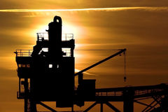 Grue de coucher du soleil Images libres de droits
