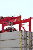 Grue de potence et conteneurs de cargaison portiques Images libres de droits