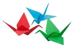 Grue de trois origamis Image libre de droits