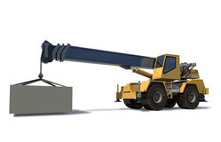 Grue mobile avec un chargement sur la grue de potence. Image libre de droits