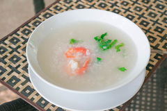 Gruel риса каши с креветкой Стоковые Фотографии RF