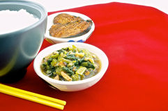 Gruel in bowl with vegetarian. Vegetarianism helps keep the body healthy Stock Photography