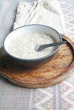 Gruel in dish. Food for breakfast Stock Photo