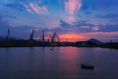 Grues à Sestao Photo libre de droits