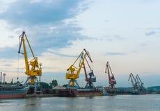 Grues à un port en soirée Photographie stock libre de droits