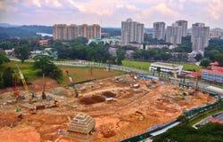Grues - chantier de construction Photo stock