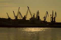 Grues dans le port Photographie stock