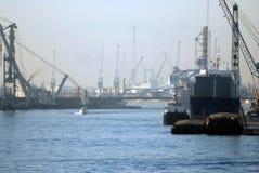 Grues dans le port d'Anvers Image libre de droits