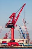 Grues dans le port de Rotterdam, Pays-Bas Image libre de droits