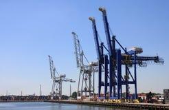 Grues dans le port de Rotterdam, Pays-Bas Photos libres de droits