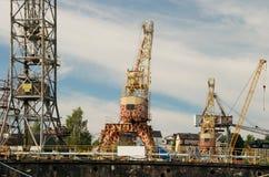 Grues dans le port de Stockholm Images libres de droits