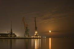 Grues dans le port et la réflexion de la lune Photo libre de droits