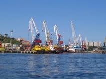 Grues de cargaison de mer Photos libres de droits