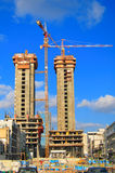 Grues de chantier de construction Image stock