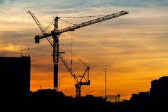Grues de construction industrielles au coucher du soleil photo stock
