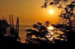 Grues de port au coucher du soleil Photos stock