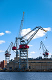 Grues de port maritime Images stock
