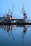 Grues de port maritime Photographie stock libre de droits