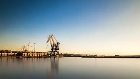 Grues du port de Trieste images stock