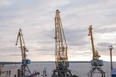 Grues gauches dans le port maritime Photo stock