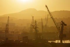 Grues industrielles dans le port Photographie stock libre de droits