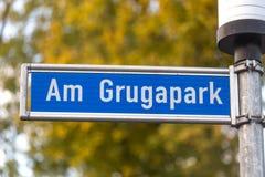 Grugapark street sign in essen germany stock image